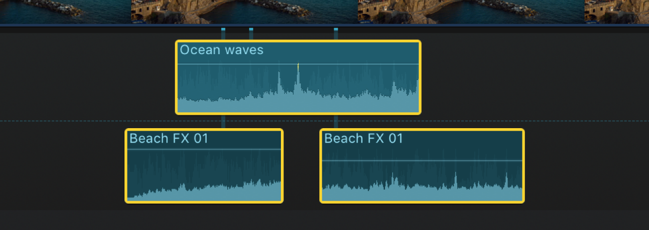 Audio clips selected in the timeline