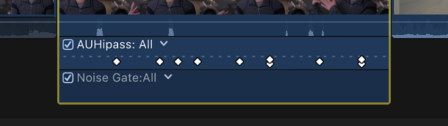 The Audio Animation editor showing keyframes for multiple parameters at the same point