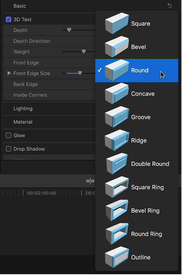The Front Edge pop-up menu in the 3D text section of the Text Inspector, with Round selected