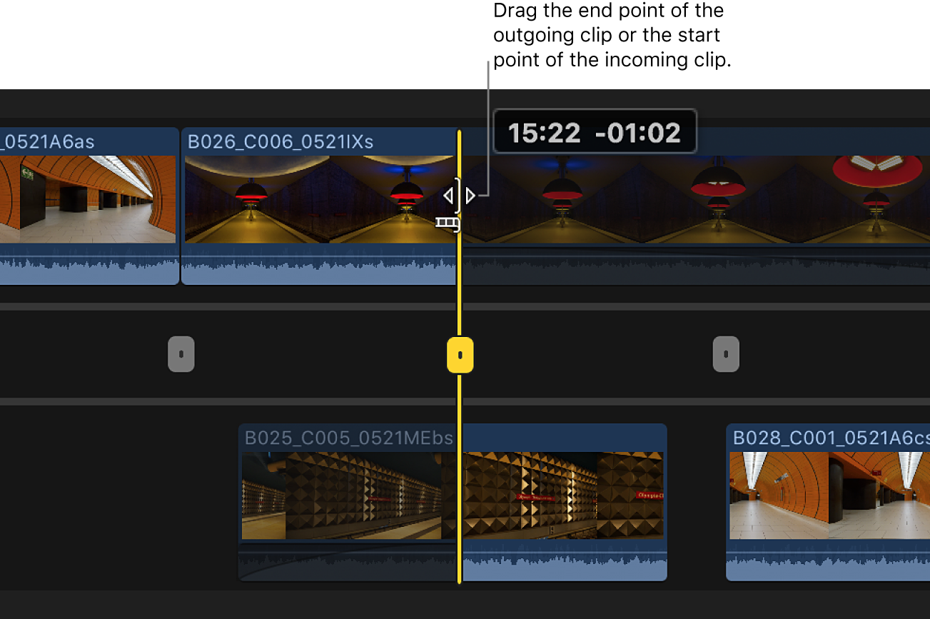 The end point of the outgoing clip being dragged in the precision editor