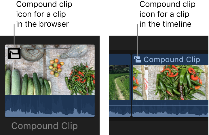 A compound clip icon on a clip in the browser and a clip in the timeline