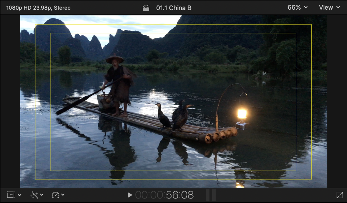 The viewer showing title-safe and action-safe overlays
