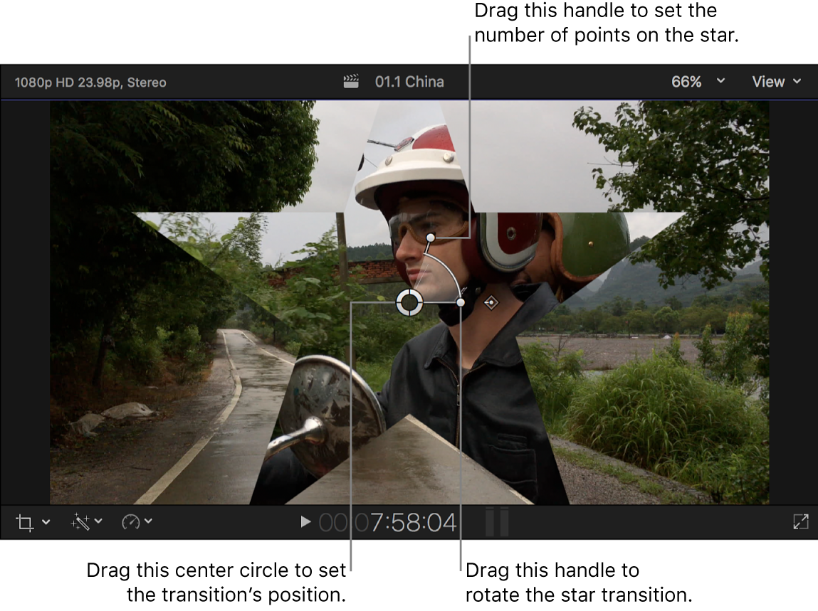 The viewer showing the Star transition onscreen controls