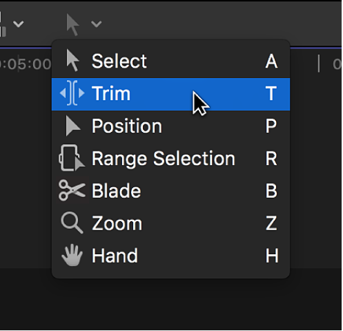 The Trim tool in the Tools pop-up menu