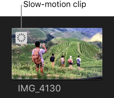 The slow-motion indicator appearing on a clip in the browser