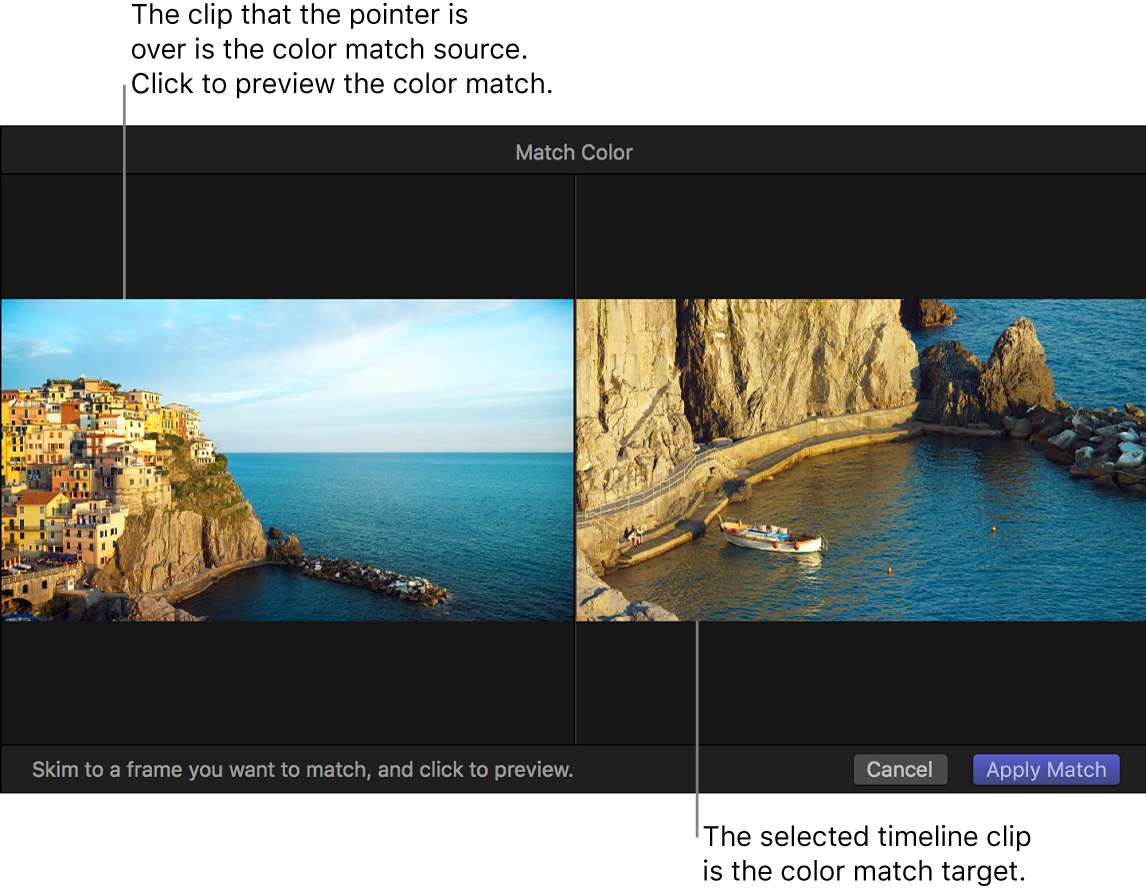 The viewer showing the Match Color source clip and target clip