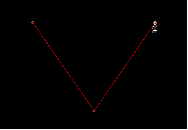 The viewer showing a linear corner point