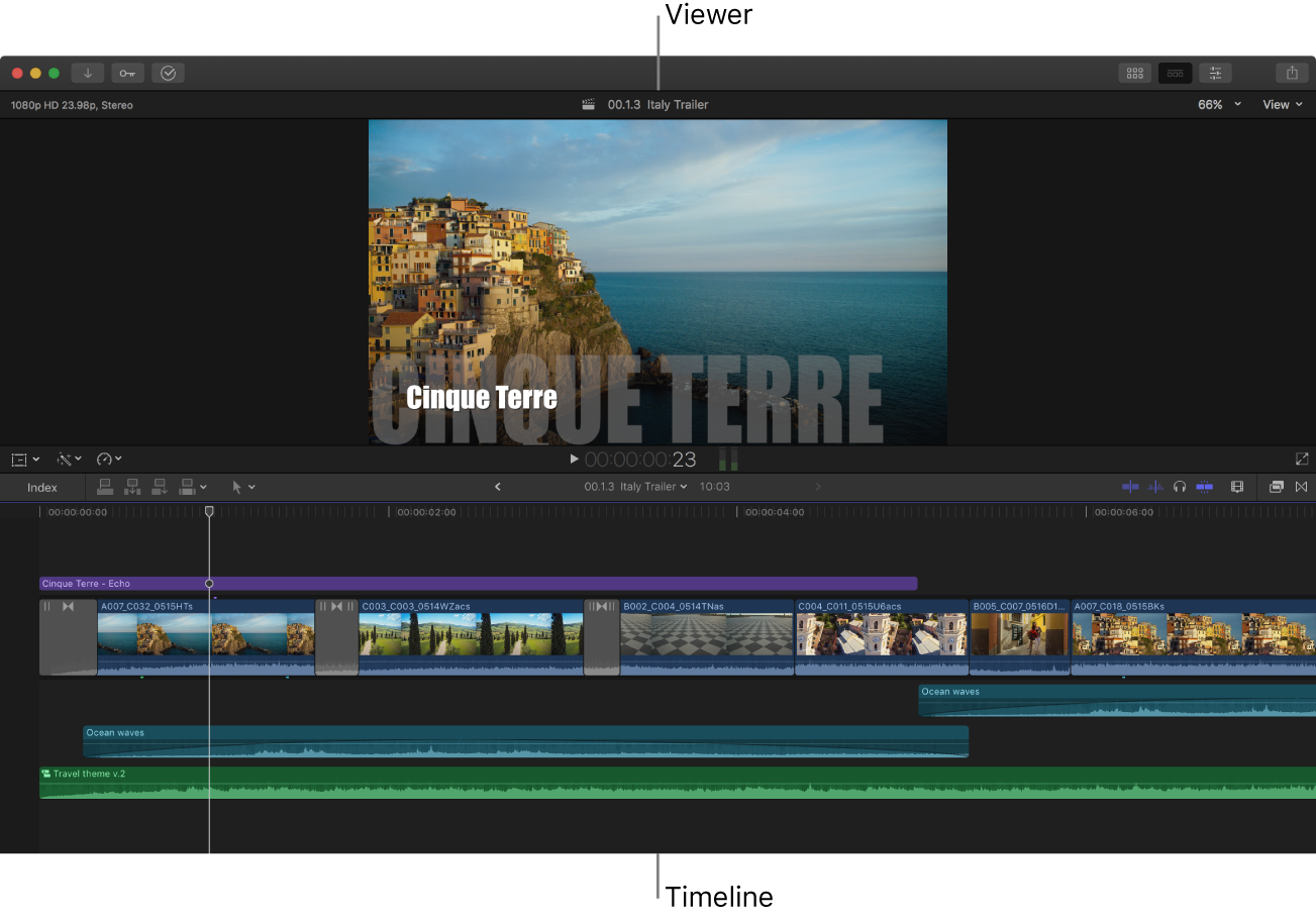The FinalCutPro window with just the viewer and the timeline showing