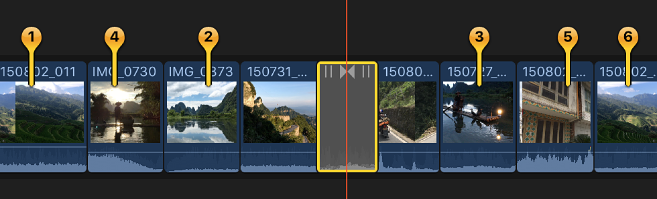 The timeline showing pins for numbered still images around a transition