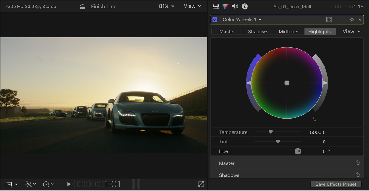 The viewer and Color inspector showing a clip with a color correction effect applied