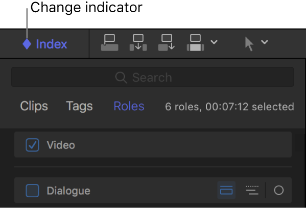 The top section of the timeline index, showing a diamond-shaped change indicator in the Index button