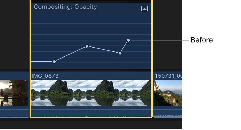 A keyframe curve in the Video Animation editor before adjustment