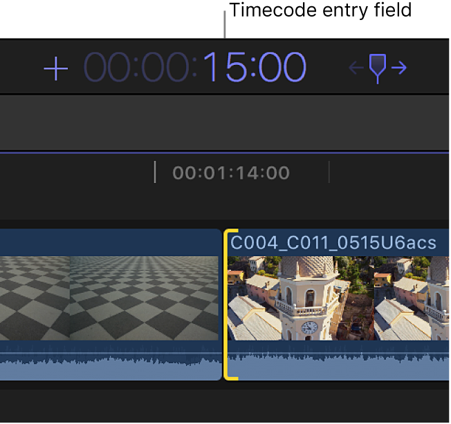The timecode display showing an entered duration