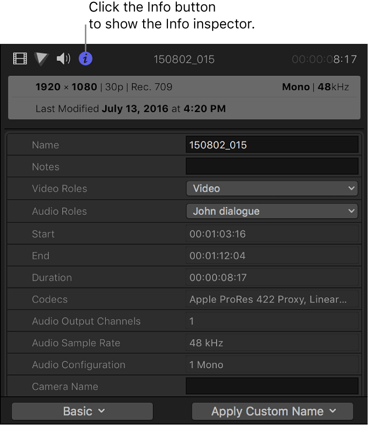 The Info inspector showing metadata for a clip selection