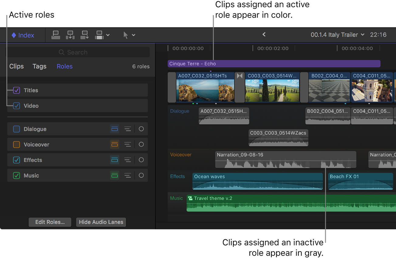 Two roles selected in the timeline index, and clips with those roles assigned appearing in color in the timeline, while clips whose roles are deselected appear in gray