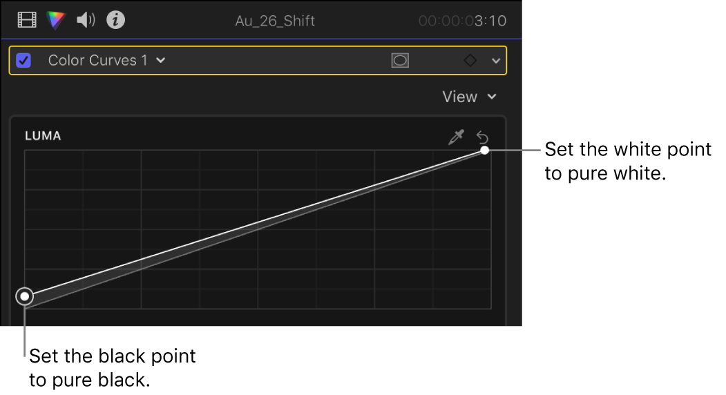 The Luma curve in the Color Curves effect in the Color inspector