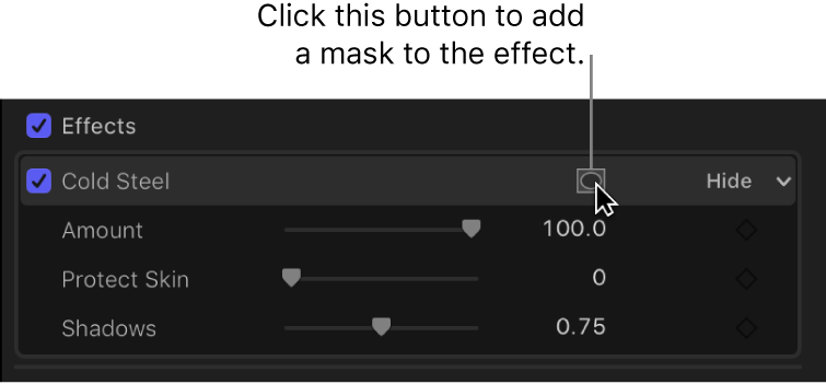 The Effects section of the Video inspector showing the Apply Effect Masks button