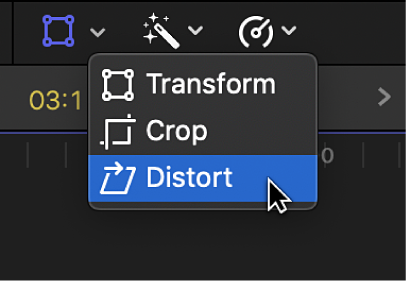 The Distort menu item for accessing the Distort controls