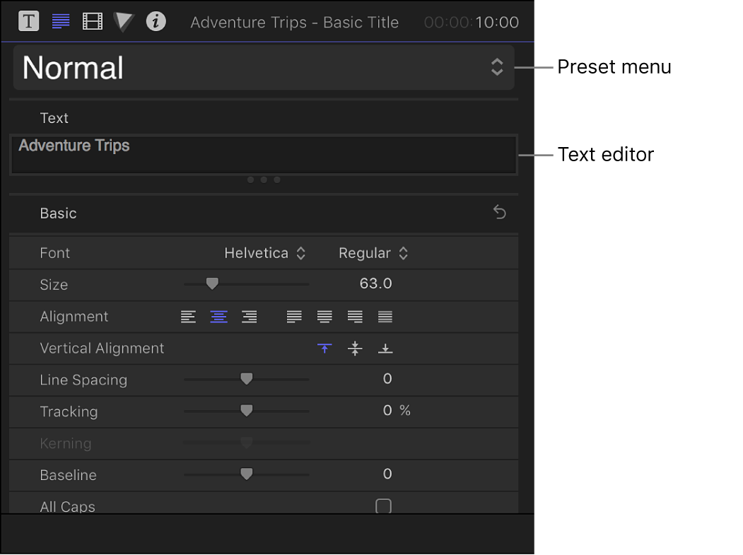 The Basic section of the Text inspector