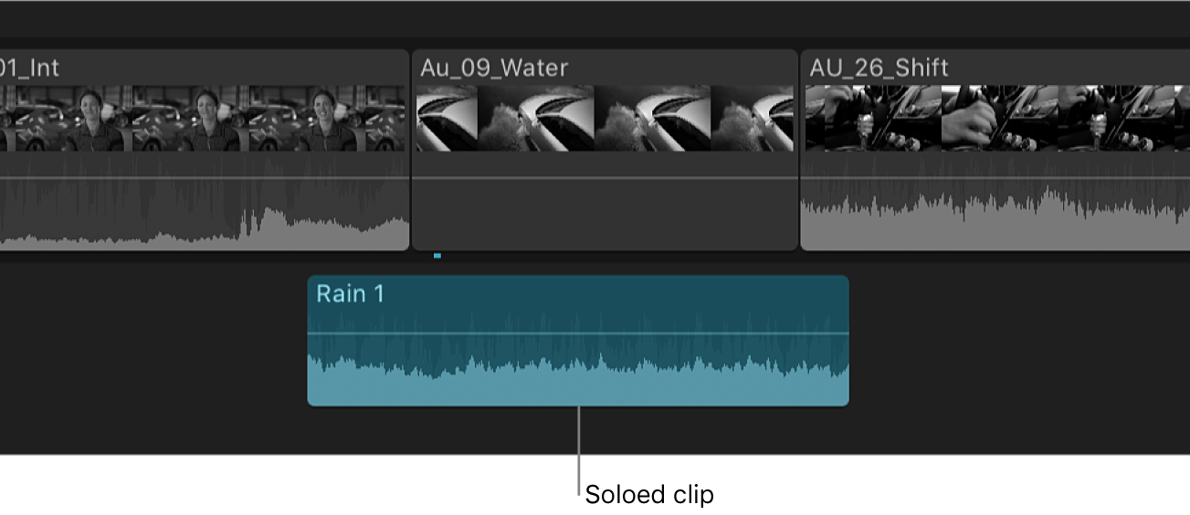 A soloed clip appearing highlighted in the timeline, with other clips appearing dimmed