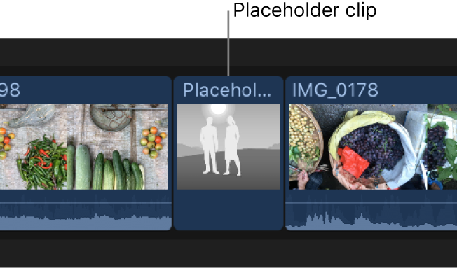 A placeholder clip in the timeline