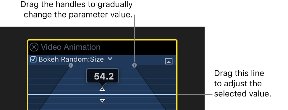 The Video Animation editor showing an expanded parameter