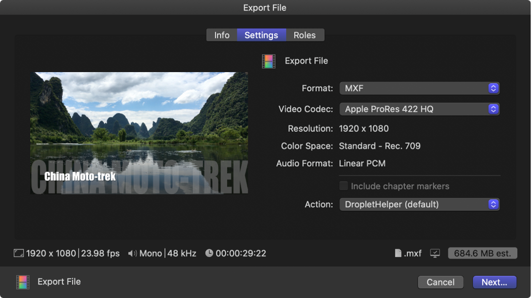 The Settings pane of the Share window for the Export File destination