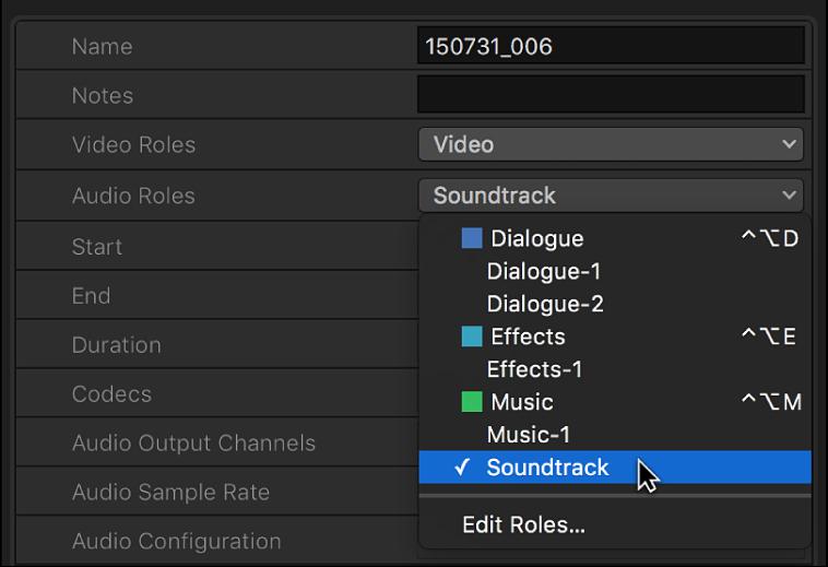 """Una selección de una función recién creada en el menú desplegable """"Funciones de audio"""" del inspector de información"""