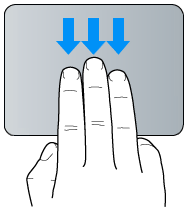 Gesto de arrastre con tres dedos