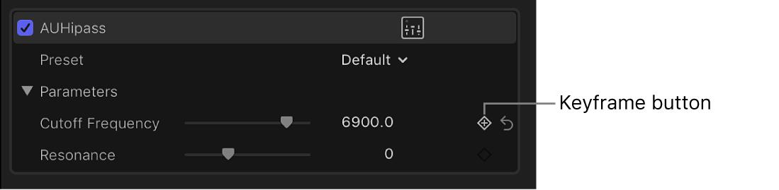 """Botón """"Fotograma clave"""" de un efecto en el inspector de audio"""