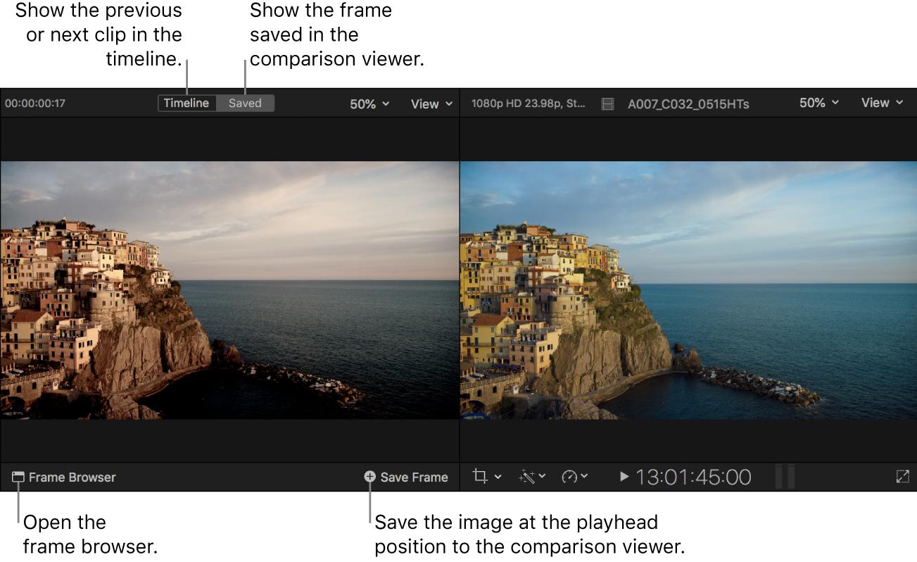 """Visor de comparación mostrado en el modo Guardado a la izquierda del visor, con los botones """"Línea de tiempo"""" y Guardado en la parte superior, el botón """"Explorador de fotogramas"""" en la parte inferior izquierda y el botón """"Guardar fotograma"""" en la parte inferior derecha"""