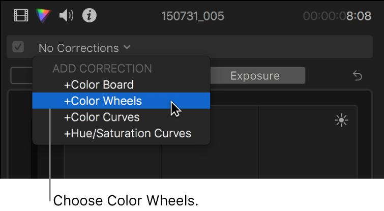 """Opción """"Ruedas de color"""" seleccionada en la sección """"Añadir corrección"""" del menú desplegable de la parte superior del inspector de color"""