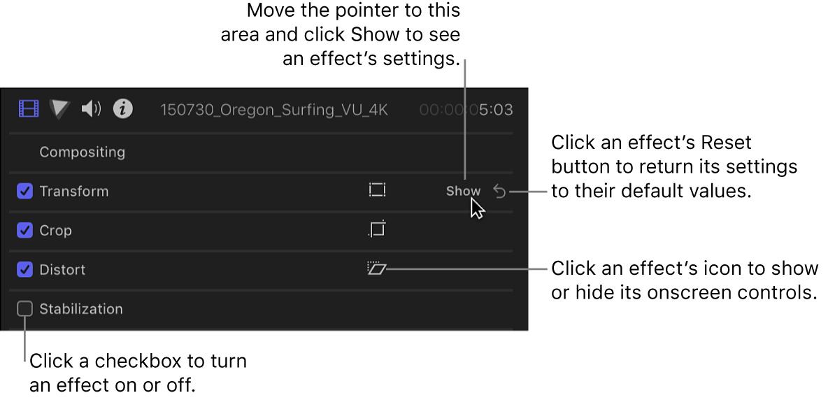 El inspector de vídeo con los controles de efecto
