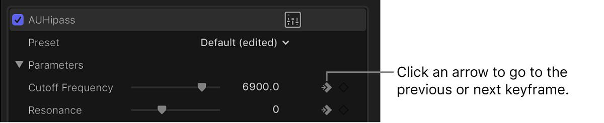 """Botón de flecha situado junto al botón """"Fotograma clave"""" de un efecto en el inspector de audio"""