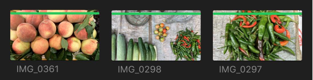 Líneas verdes de favoritos en la parte superior de los clips en el explorador