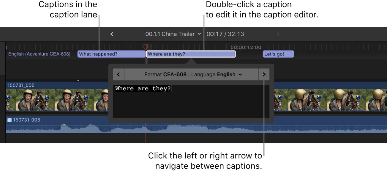 Tres subtítulos en la línea de subtítulos de la línea de tiempo, y el editor de subtítulos con el texto del subtítulo seleccionado