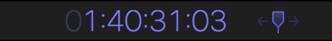 Visualización del código de tiempo con el valor del código de tiempo al que se moverá el cursor de reproducción