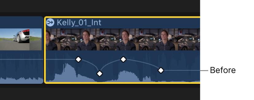 Curva de fotogramas clave en el editor de animación de audio antes del ajuste
