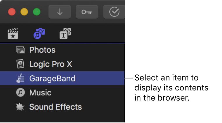 """La barra lateral """"Fotos y audio"""" con GarageBand seleccionado"""