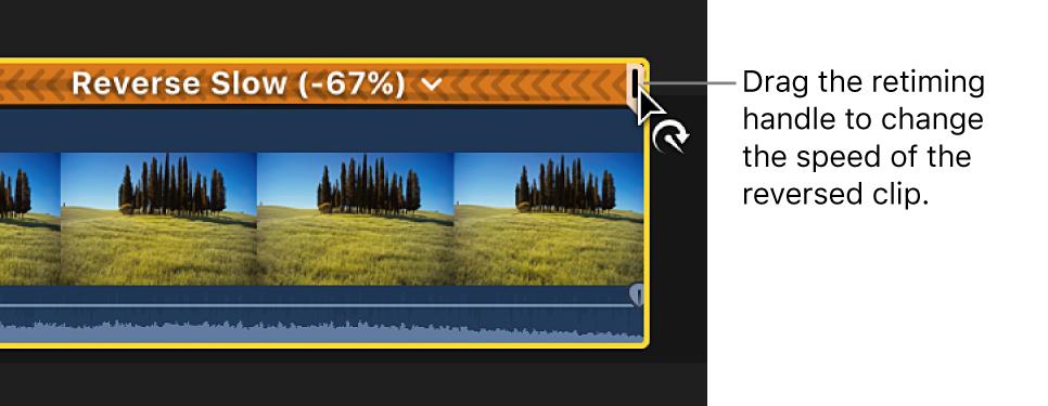 La línea de tiempo y arrastra del tirador de reprogramación de un clip invertido para ajustar la velocidad