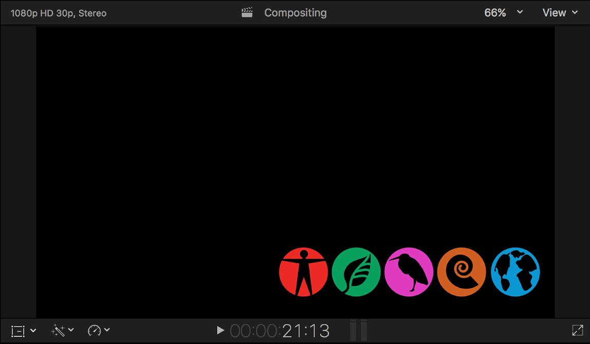 Visor con una imagen de relleno del canal alfa (una fila de iconos)