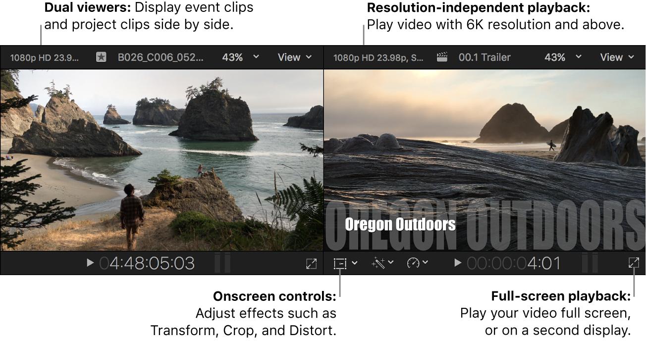 Visor de eventos y visor colocados en paralelo