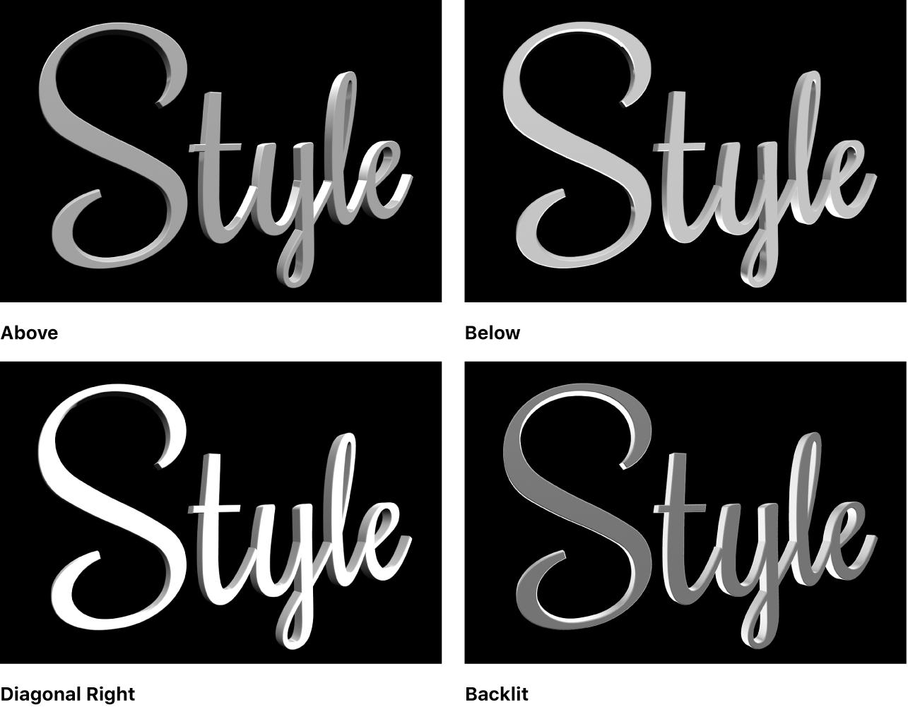 """Un título 3D en el visor mostrado cuatro estilos de iluminación diferentes: Arriba, Debajo, """"Diagonal derecha"""" y Retroiluminación"""