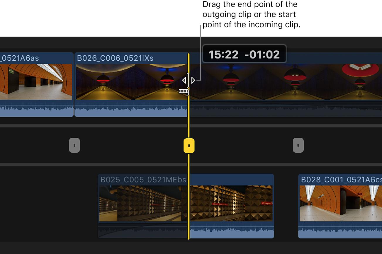 El punto final del clip de salida arrastrado en el editor de precisión