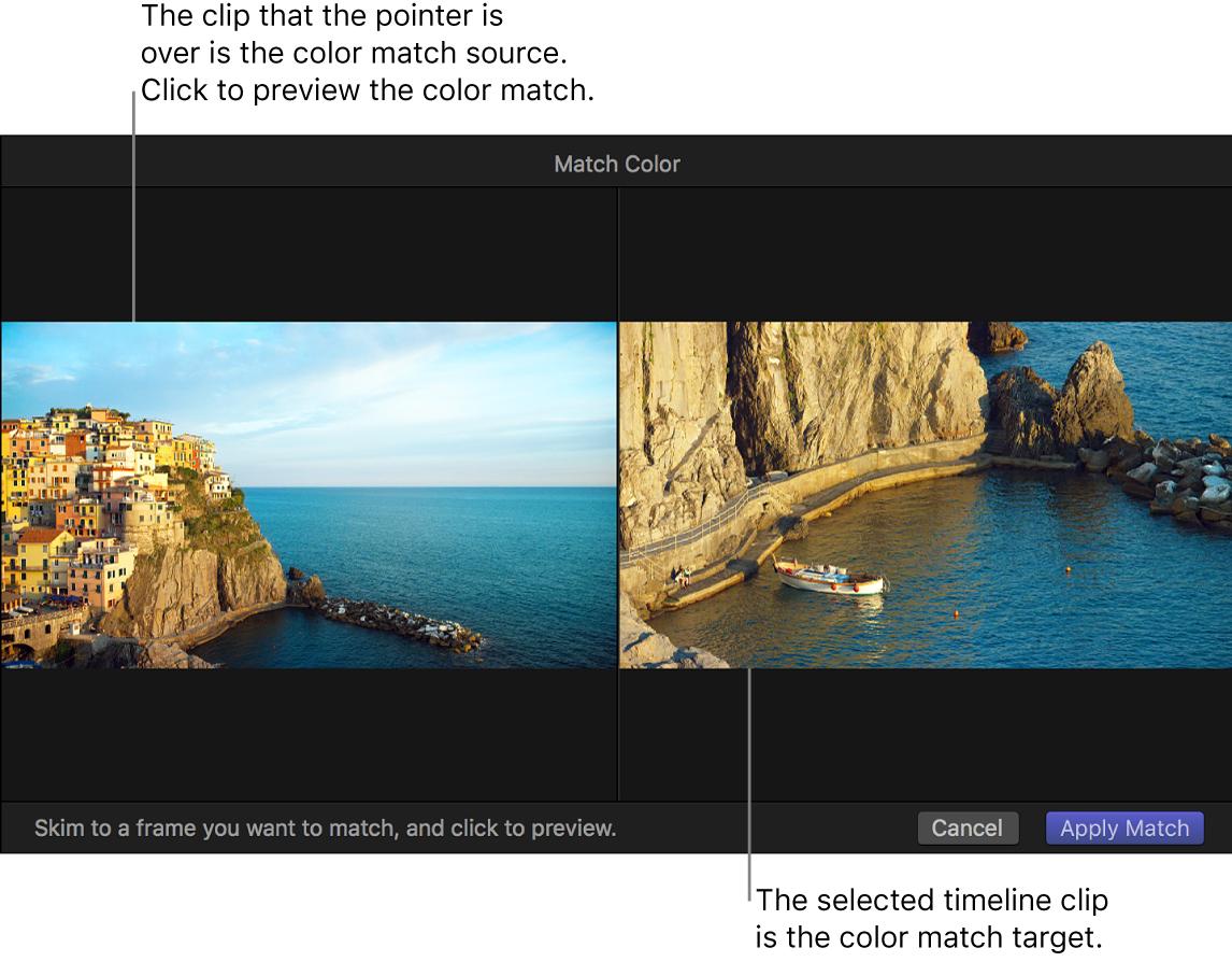 """El visor con el clip de origen y el clip de destino de """"Correspondencia de color"""""""
