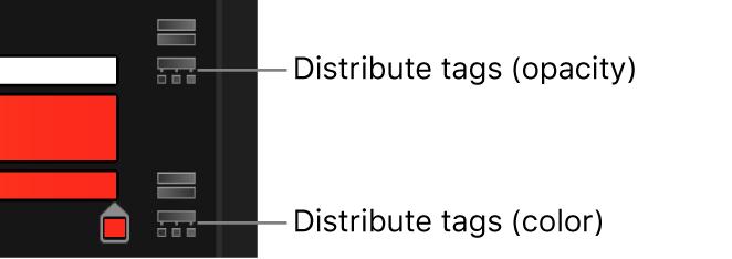 Los iconos de distribución de etiquetas situados junto a las barras de opacidad y de color