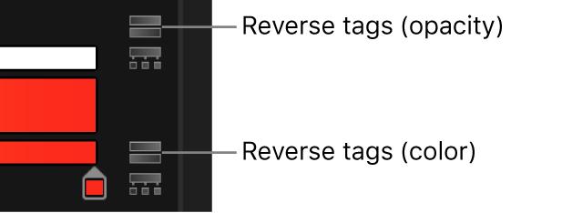 Los iconos de inversión de etiquetas situados junto a las barras de opacidad y de color