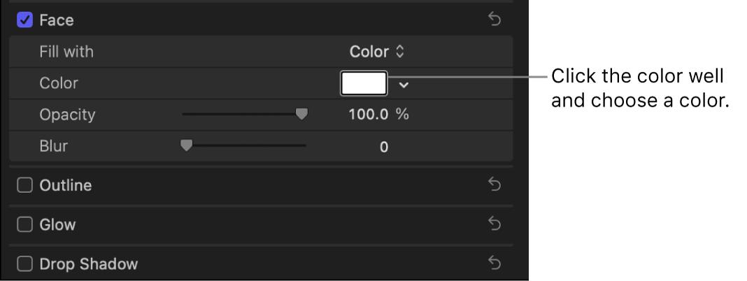 La paleta de colores en la sección Cara del inspector