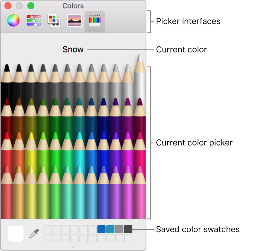 La ventana Colores de macOS