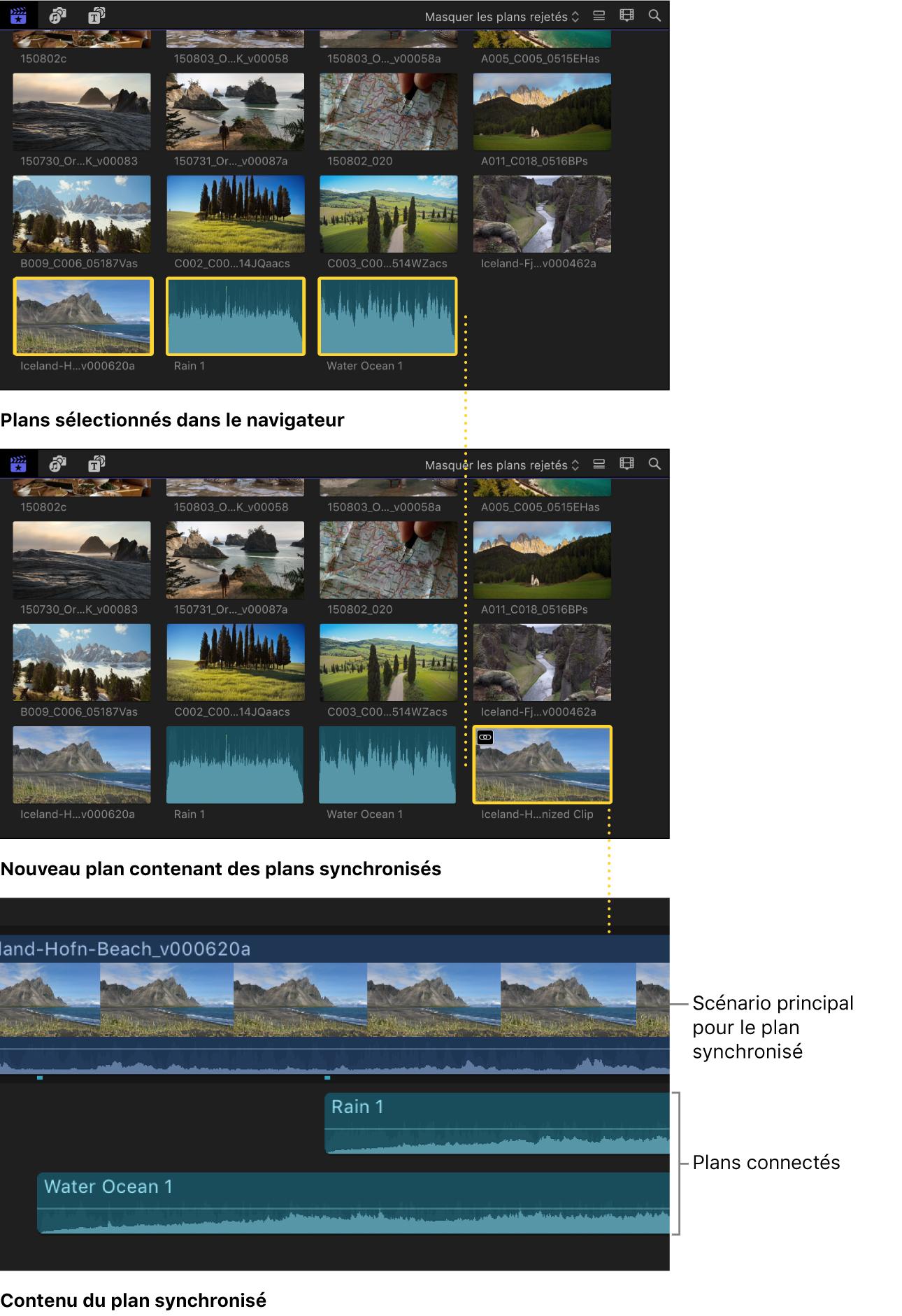 Plan synchronisé créé à partir des plans sélectionnés dans le navigateur